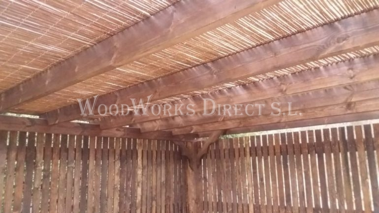 Wooden Pergola with Bamboo roof spain